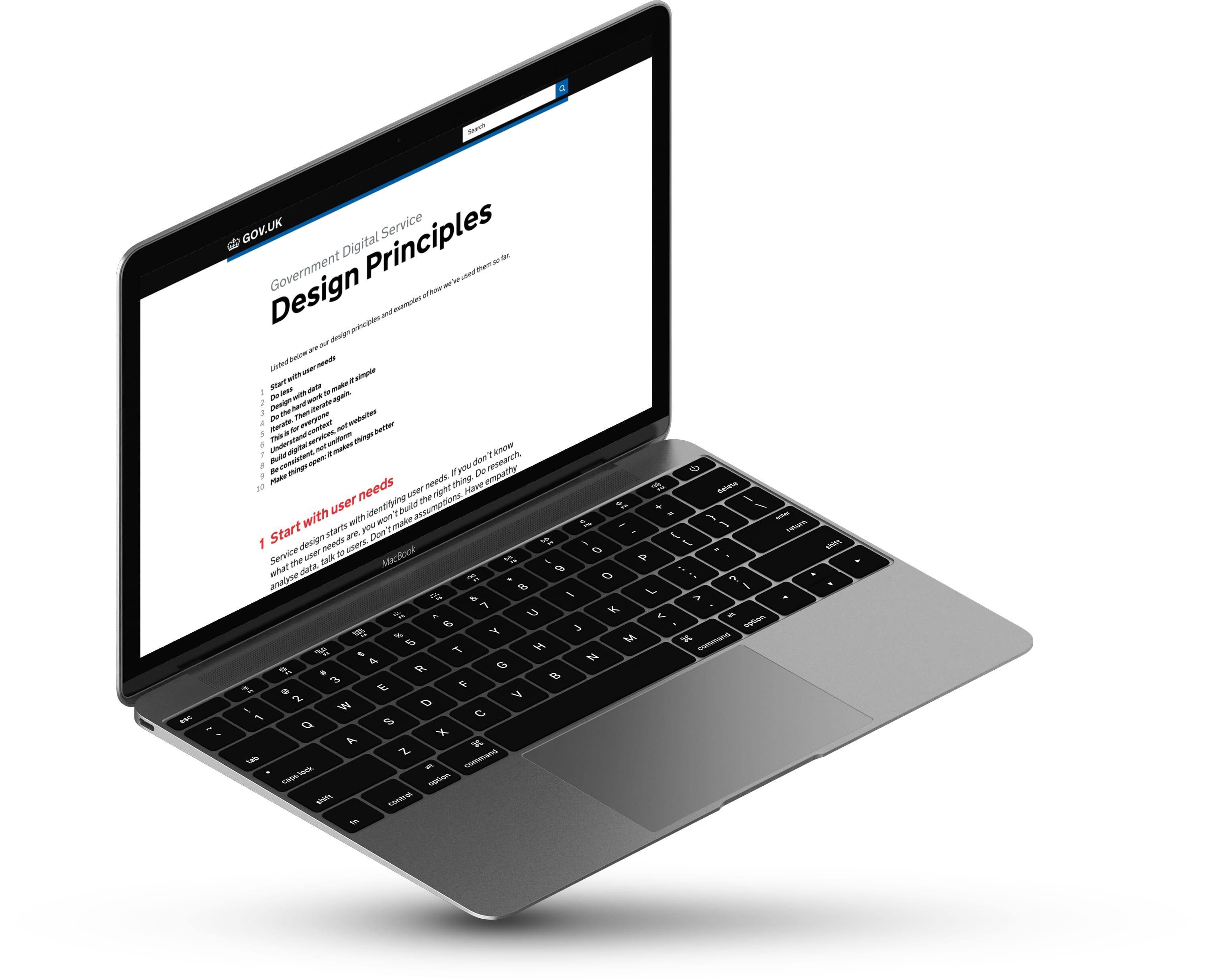 Laptop showing design principles