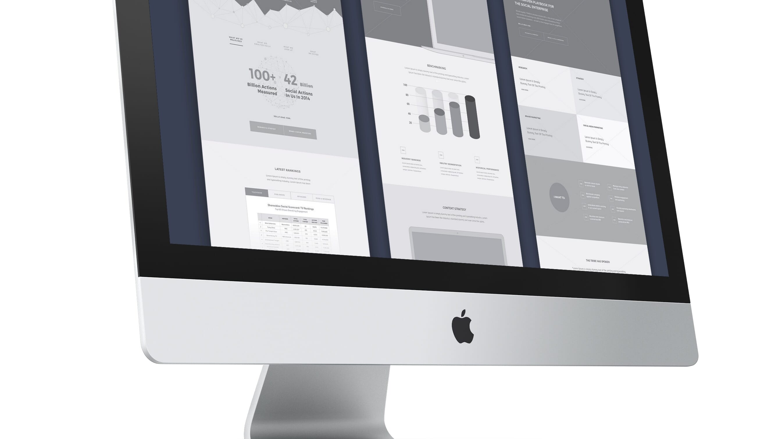 iMac showing wireframes