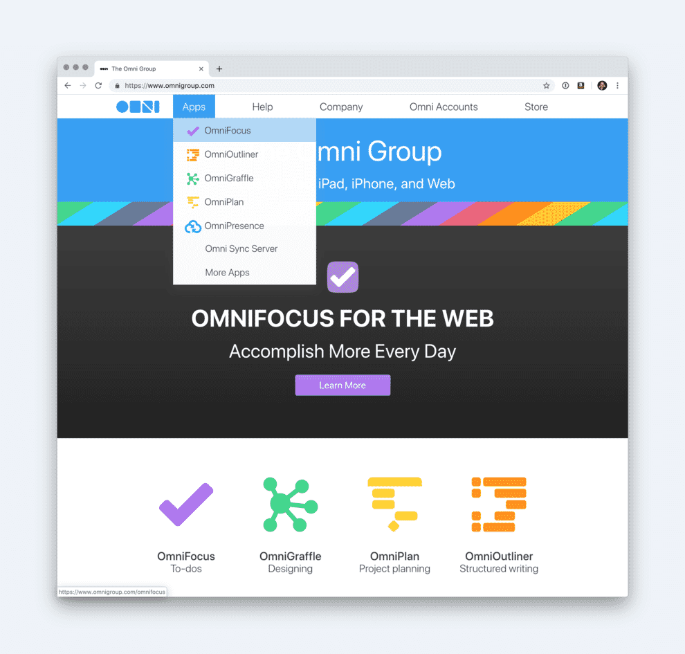 Secondary navigation on omnigroup website.